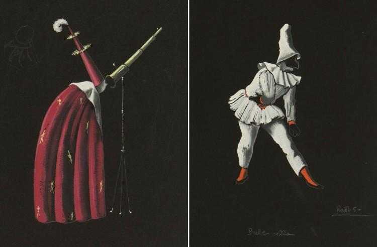 """Figurino dos personagem Mago (esq.) e Pulcinella feito por Gianni Ratto para o balé """"Pulcinella"""" (1950), de Stravinski, do acervo do teatro Scala de Milão (Arcervo Scala)"""